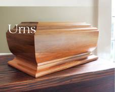 Coffin and urns